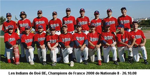 Les séniors Indians, Champions de France de Nationale II 2008